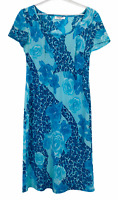 Table Eight Vintage Womens Blue Floral Cap Sleeve Shift Dress Size 12