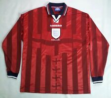 VINTAGE RARE UMBRO ENGLAND NATIONAL TEAM LONG SLEEVES SOCCER JERSEY SIZE XL