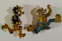 Vintage Golden Age Cartoon Character Pins Lil Abner Mammy and Pappy Yokum Brooch