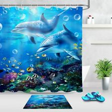 Dolphins Colorful Sea Fishes Ocean Lives Shower Curtain Set Bathroom Decor 72""