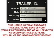 CUSTOM ENGRAVED Aluminum Trailer ID Tag Vin Plate Serial GVWR Medical New USA
