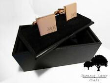 Engraved Rose Gold Cufflinks & Personalised Gift Box Cuff Links Bridal rgcls6