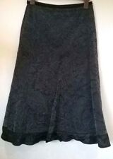 """Per Una casual a line black/grey velvety floral skirt Size UK 8 31"""" Long"""