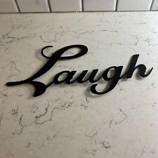 Laugh Metal Word Wall Art Decor Script Rustic Farmhouse Wreath Crafts