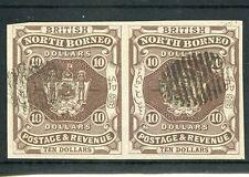NORTH BORNEO 1889 $10 IMPERF PAIR SG50a CTO