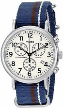Timex Mens/Womens Weekender Chronograph White Dial Brass Case Blue Nylon Watch