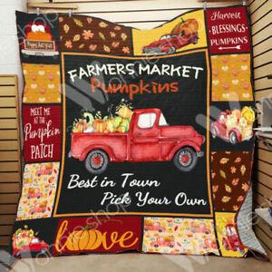 Fall Red Truck - Farmers market Blanket Quilt, Fleece blanket Ptinting in US