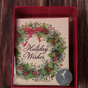 Papyrus Christmas Cards Boxed, Christmas Wreath and Holiday Wishes (20-Count)