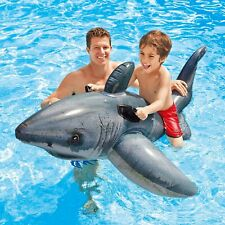 Inflatable Great White Shark Ride On Beach Toy Swim Pool Float Years 3+