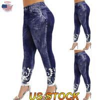 Women Skinny Leggings Floral Print Yoga Pants Ladies Stretch Sporty Trousers US