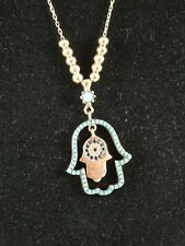 """Turquoise Sapphire Hamsa Charm Necklace Gold Bonded 925 Sterling Silver 18"""" N TK"""