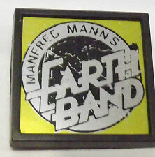 "MANFRED MANN`S EARTH BAND Vtg 1970`s Mirrored Plastic Pin Badge 44mm-1.75"" Punk"