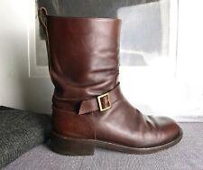 vintage GUCCI men's cognac brown leather buckle boots 44 10.5