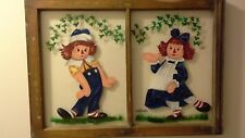 Vintage Raggedy Ann and Andy Dolls Hand Painted on Glass w/ Picture Frame 1998