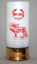 VINTAGE BULGARIAN MATTED GILDED GLASS HUNTING THEME CUP MUG