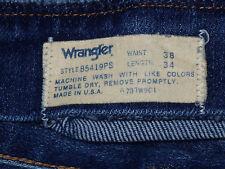 """VINTAGE WRANGLER MENS 38 X 34 #85419PS BLUE JEANS meas 35"""" x 33"""" (373-7)"""