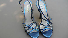 Retail $585 Pollini Blue Leather Strap Heels Sandals SzEU/38.5US/8 Made in Italy
