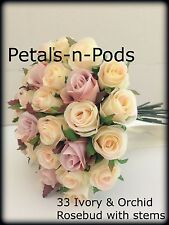 IVORY & ORCHID ROSES POSY 33 BUDS WEDDING  BOUQUET ARTIFICIAL SILK FLOWER