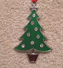 Jeweled Enamel Silver Plated CHRISTMAS TREE Ornament - NIB