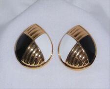 Clip Art Deco crystal/&black Esmalte Retro Aretes Plata Rhinestone Vintage