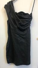 Stunning Rare All Saints Ladies Real Leather Smart Black Dress UK Size 12