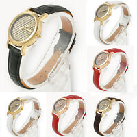 Vogue Women Crystal Dial Quartz Analog Leather Bracelet Luxury Lady Wrist Watch