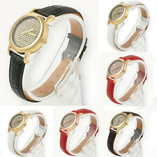 Vogue Women Crystal Dial Quartz Analog Leather Bracelet Luxury Lady Wrist Watch