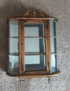 """Vintage Walnut Glass Curio Cabinet Plate Grooves Large 27x20"""" Butler Style"""