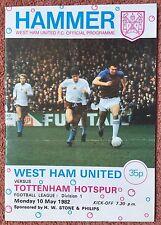 WEST HAM UTD v TOTTENHAM HOTSPUR - DIVISION 1,  10.5.1982 - FOOTBALL PROGRAMME