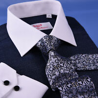 Dark Navy DOT With White Contrast Collar & Cuff For Formal Business Dress Shirt
