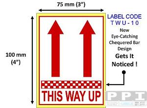 """Red THIS WAY UP ARROW Packaging Labels Stickers On Roll 100x75mm (4""""x3"""") TWU-10"""