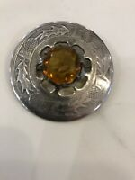 vintage amber stone Scottish thistle brooch pendant or kilt pin