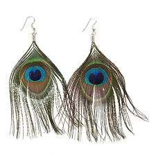 Women Boho Style Rhinestone Long Natural Peacock Feather Drop Earrings T1