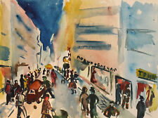 EXPRESSIONIST CITYSCAPE VINTAGE WATERCOLOR PAINTING