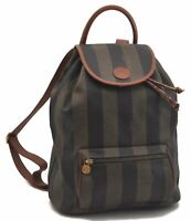 Authentic FENDI Pequin Pattern PVC Leather Backpack Brown C2028