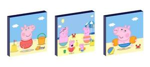 """PEPPA AND GEORGE PIG AT THE BEACH 10"""" x 10"""" CANVAS PICTURE SET"""