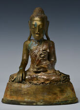 Early 19th Century, Early Mandalay, Antique Burmese Bronze Seated Buddha