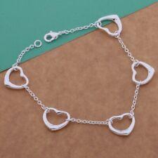Delicate 925 Silver Open Heart Hearts Love Friendship Charm Bracelet