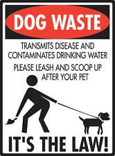 "Dog Waste - Please Leash and Scoop Up Aluminum No Dog Pooping Sign - 9"" x 12"""