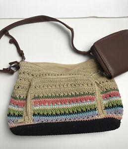 Rosetti Women's Purse Removable BONUS WALLET Handbag Cloth New Crocheted Beige