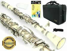 D'Luca 200 Series White Bb Clarinet 17 Keys with 1 Year Manufacturer Warranty