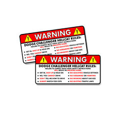Dodge Challenger Hellcat - Rules Warning Funny Adhesive Sticker Decal 2 PACK 5""