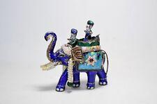 Antique Enamel Elephant Asian Chinese Silver - Hindu Small Animal Figurine Staue