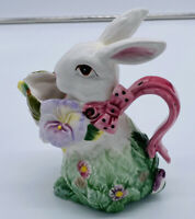 Corner Ruby Bunny Collection Creamer Vase Pitcher Bunny Easter Pansy Preowned