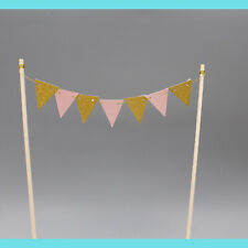 Pink Gold mini bunting Flag Cake Topper Happy Birthday Party Baby Shower Girl