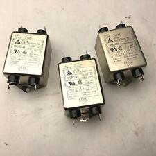 Lot of 3 Delta 10DRCG5 Line Filter, 115/250VAC, 10A, 50/60Hz