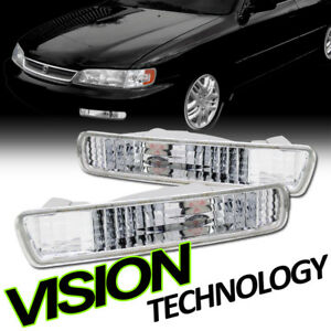 For 94-95 Honda Accord Crystal Chrome Clear Front Signal Parking Bumper Lights