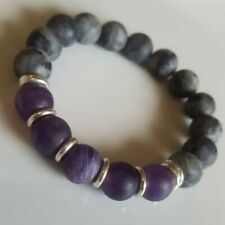 Matte Labradorite, Amethyst & Links Of London sterling silver Bracelet Handmade