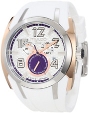 Mulco Deep Chrono Silver & Purple Dial White Silicone Ladies Watch MW117186015