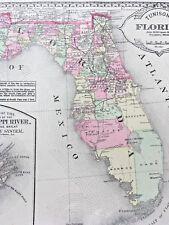 FLORIDA 1886 Antique Maps Georgia South Carolina Arkansas Louisiana Mississippi